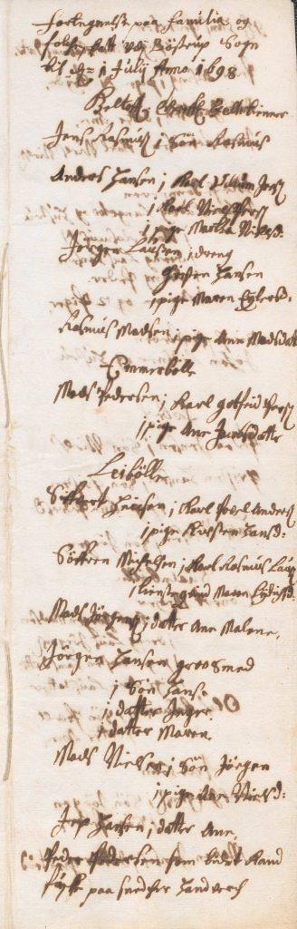 Første side af det originale skattemandtal fra Bøstrup Sogn 1698.